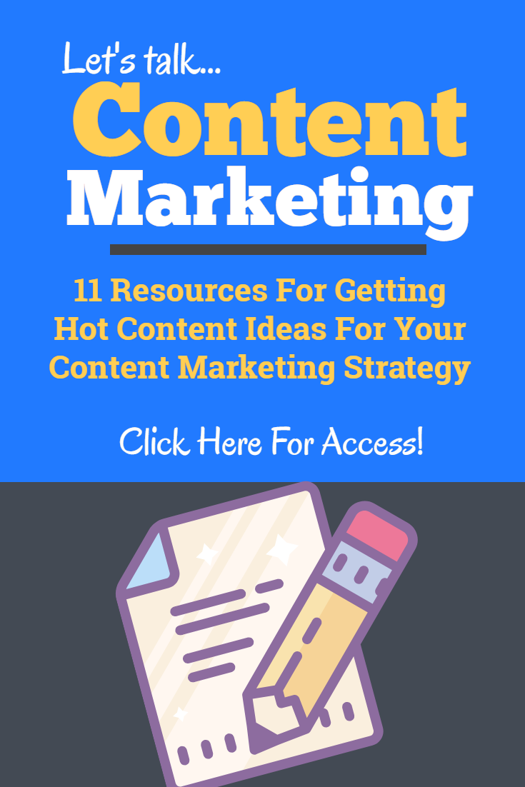 Content marketing is a great strategy, but if you don\'t have good content you\'re done before you even get started! Use these resources to come up with hot content ideas when you\'re in the content creation part of content marketing! #contentcreation #contentideas #contentstrategy #contentmarketing #contentmarketingstrategy #contentmarketingideas #contentmarketingtips